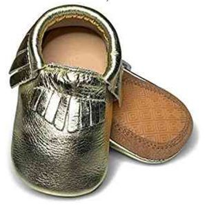 Lucky love Toddler hard sole moccasins gold EUC